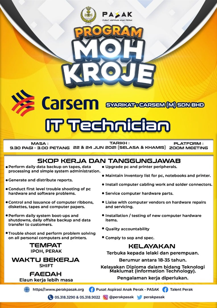 Technician  Lokasi Bekerja: Ipoh,  Perak  Deskripsi Kerja: •        Maintenance of mechanical and electrical equipment as per schedule. •        To assist test engineering process and equipment maintenance setup. •        Verified low yield product and confirm failure modes. •        Verify production output against machine downtime and investigate line problem and focus on overall equipment effectiveness and downtime. •        Basic equipment setup or conversation and trouble shooting. •        Understand on equipment id / modular function and tool handling. •        Understand on machine part and functions. •        Diagnostic and operate equipment operation at working field. •        Carry out modification plans and enhancement projects on equipment. •        Maintain of automatic test equipment and marking system and bench test and electronic equipment. •        Conduct daily routine equipment check and monitor equipment performance. •        Ensure supply of maintenance tools and inform immediate superior on when inventory level is low. •        Generate maintenance report in shift. •        Quality accountability  Kelayakan: 1. Terbuka kepada lelaki dan perempuan. 2. Berumur antara 18-35 tahun. 3. Kelayakan Diploma dalam bidang Electrical,  Electronic & Mechanical. 4. Pengalaman kerja diperlukan. 5. Waktu bekerja: Shift