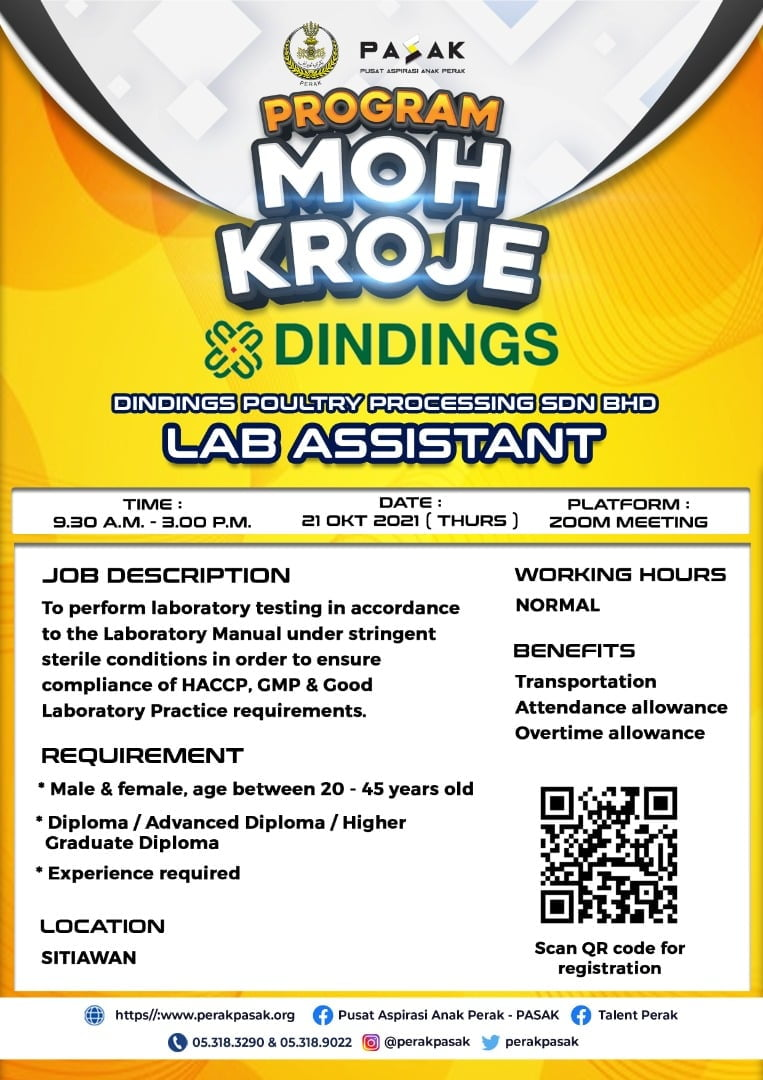 DINDINGS POULTRY PROCESSING SDN BHD - Lab Assistant