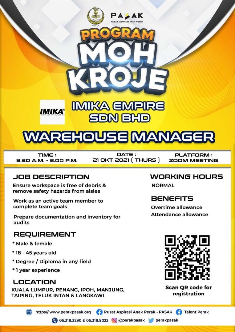 IMIKA EMPIRE SDN BHD - Warehouse Manager